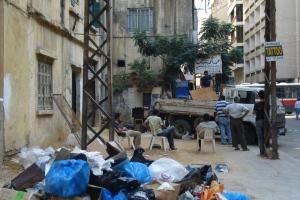 Ouvriers étrangers dans le quartier de Hamra à Beyrouth