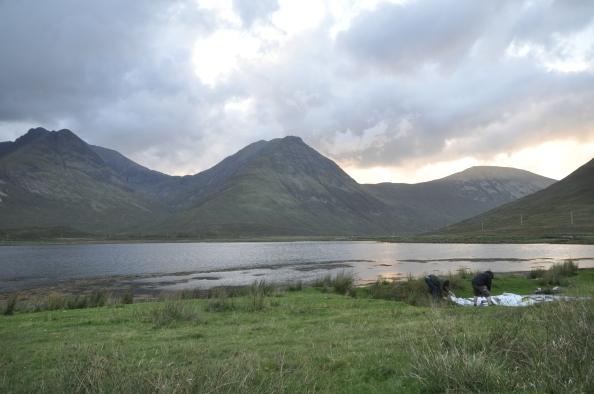 Lumière couchante de soleil sur Skye.